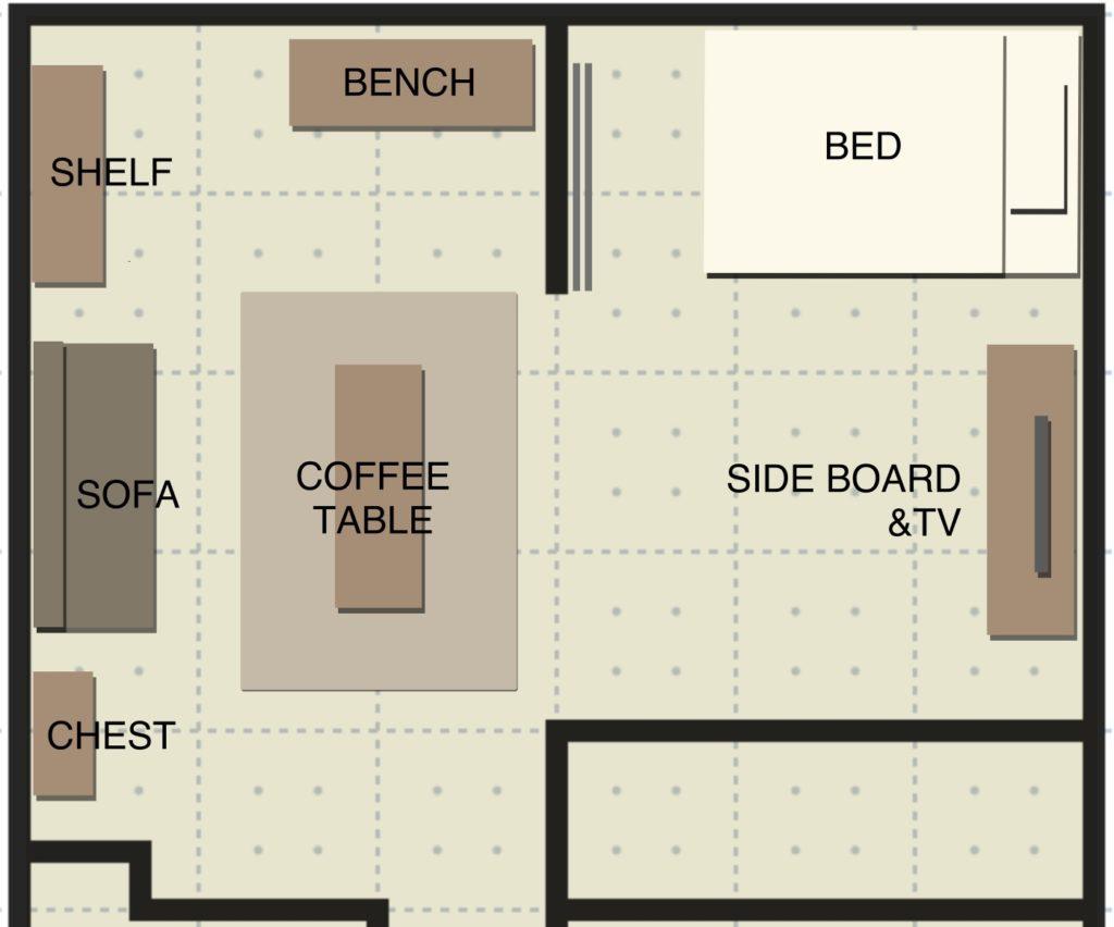1LDK家具配置サンプル