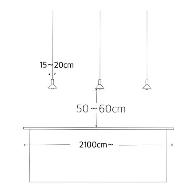 照明の大きさとテーブルからの適切な距離4