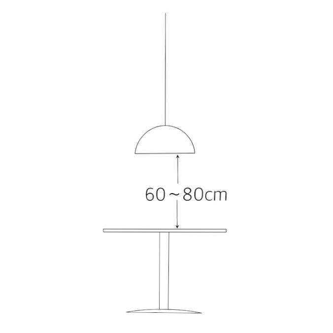 照明の大きさとテーブルからの適切な距離1