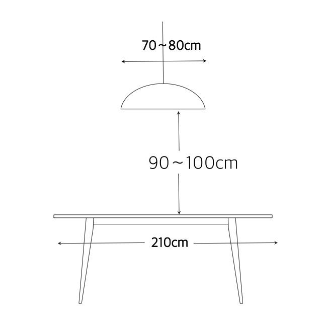 照明の大きさとテーブルからの適切な距離2