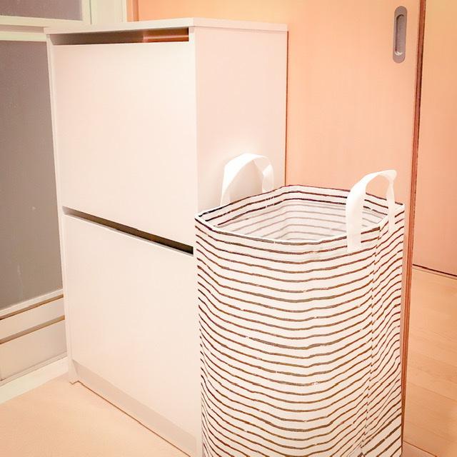 IKEAのBISSAを使ったバスタオル収納アイデア