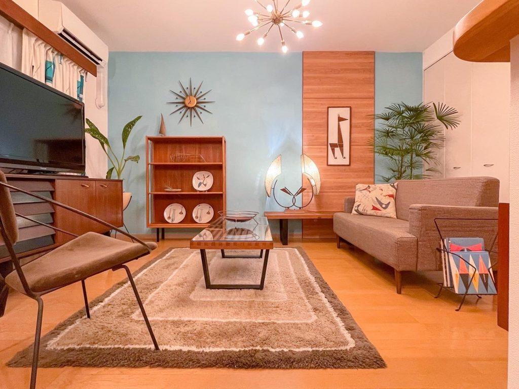 賃貸マンションでウッドの壁をDIY|ミッドセンチュリー モダンインテリア